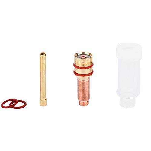 Kit de lentes de gas para soldadura TIG, con copa de vidrio transparente, resistencia a las quemaduras, gran estabilidad, para TIG-17/18/26(3.2mm)