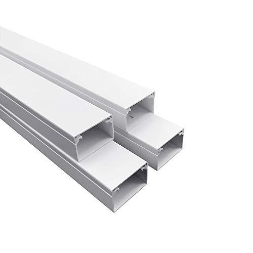 Habengut Kabelkanal (mit Montagelochung im Boden) 25x40 mm aus PVC, Farbe: Weiß, Länge 4 m (4 x 1 m Länge)