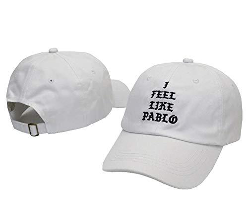 Kokmn I Feel Like Pablo Baseballmütze Unisex Snapback Baumwolle Verstellbar Papa Hut für Herren Damen Gr. One Size, weiß