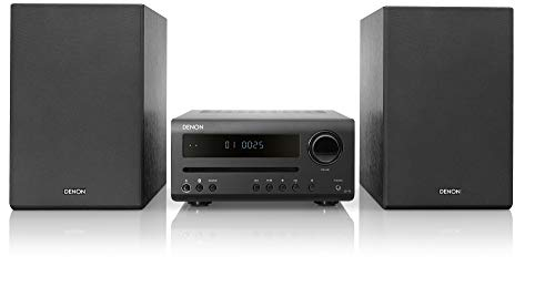 Denon D-T1 Home Theater Mini Amplifier and Bookshelf Speaker Pair - Compact Hi-Fi Stereo System with CD/FM | Perfect for Small Rooms