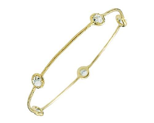 14ct Slip on Gelbgold mit Blau Topas JewelryWeb Armreif Armband