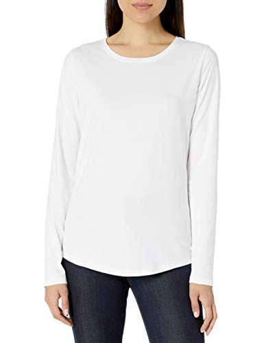 Amazon Essentials Women's Classic-Fit 100% Cotton Long-Sleeve Crewneck T-Shirt, White, Medium
