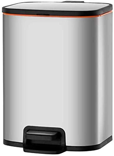 ZCRR Papelera rectangular de acero inoxidable con tapa y cesta de basura interior extraíble para cocina doméstica (tamaño: 8L, color: plata)