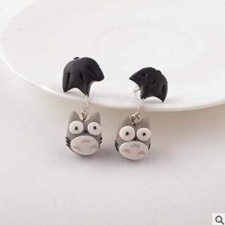 Harva Cool Style Personalized 100% Handmade Polymer Clay Accessories Earrings Women Cartoon Neighbor Totoro Stud Fashion Earrings - (Metal Color: 1)