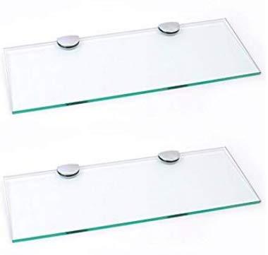 Set mit 2 langen Glasregalen mit Chromstützen, für Badezimmer, Schlafzimmer, Küche, Büro (400 mm x 150 mm), ca. 40,6 x 15,2 cm