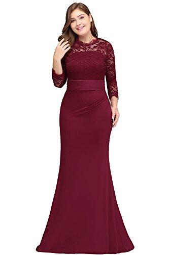 Babyonlinedress Women Plus Size Special Occasion Dress Long Sleeve Dark Red 18W