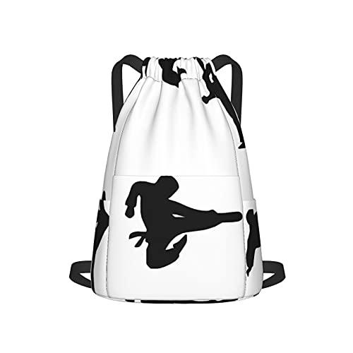 Bolsa impermeable con cordón, bolsa de cincha de poliéster, bolsa de gimnasio, mochila deportiva para hombres, mujeres y niñas, última lucha contra las artes marciales