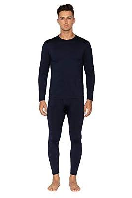 Bodtek Mens Thermal Underwear Set Premium Long John Base Layer Fleece Lined Top and Bottom (Navy,Small)