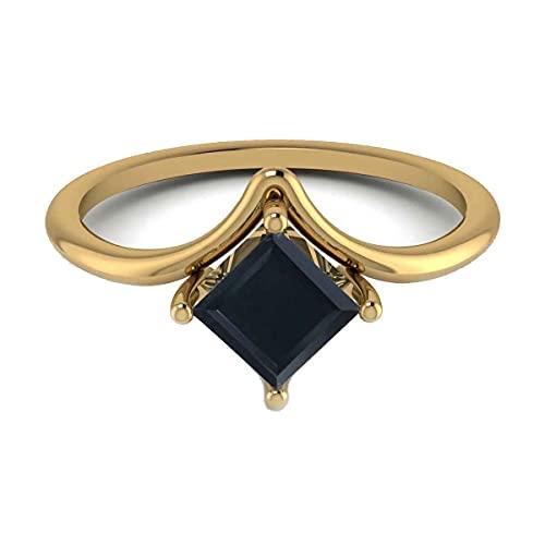 GemsOnClick chapado en oro amarillo square-shape Black Ónix negro natural