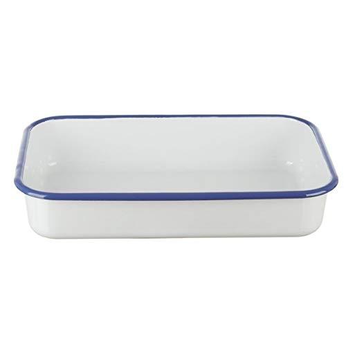 Münder-Email - Auflaufform/Ofenform - Emaille - 30x18 cm,6cm hoch - weiß/blau