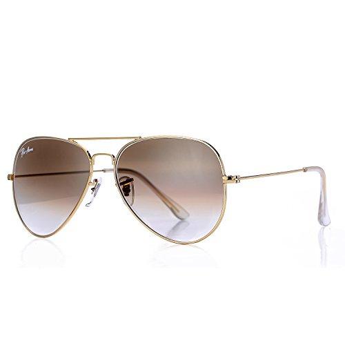 Pro Acme Aviator Crystal Lens Large Metal Sunglasses (Gold Frame/Crystal Brown Gradient Lens)