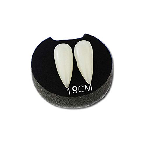 helegeSONG Halloween Decoration, 2Pcs Fake Luminous Vampires Teeth Fangs Dentures Halloween Party Cosplay Prop Decoration Costume Accessory Party Favors 2cm
