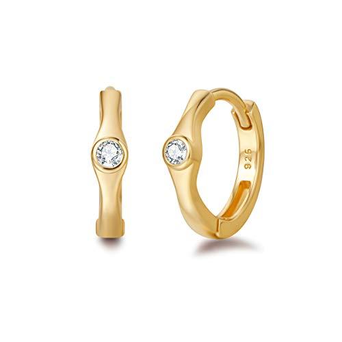 Small Hoop Earrings Carleen 14K Yellow Gold Plated 925 Sterling Silver Earrings Round Cut Cubic Zirconia CZ Dainty Hinged Huggie Hoop Earrings for Women Girls (14K Yellow Gold Plated)