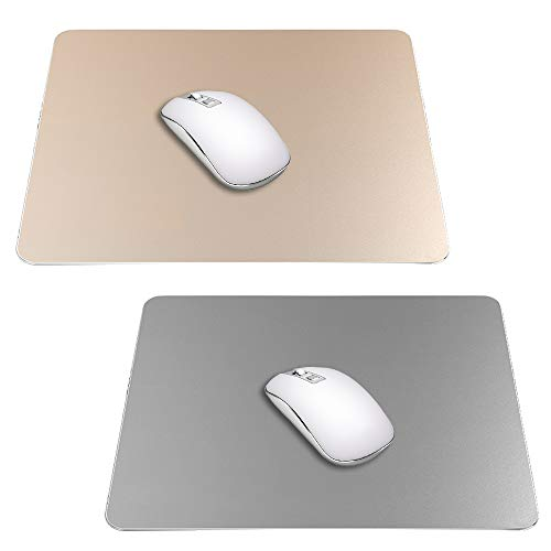 2 Pack Gaming Aluminum Mouse Pad (Gold & Grey) Compatible with Magic Mouse, DaKuan Smooth Magic Ultra Thin Double Side Mouse Mat for Fast and Accurate Control (9 inch X 7.1 inch)