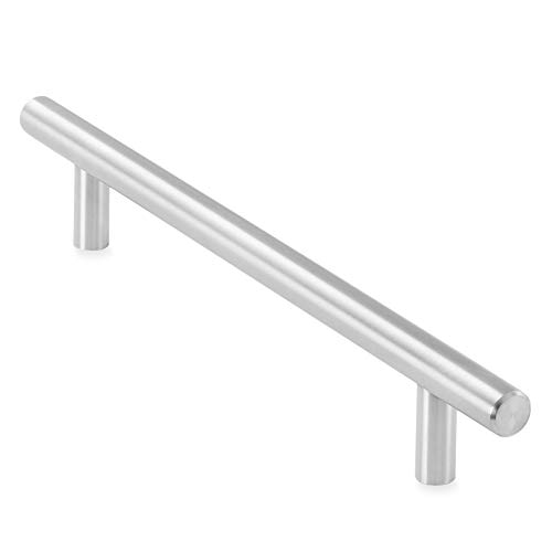 Cauldham Solid Stainless Steel Euro Style Cabinet Pull Handle Brushed Nickel Design 6-1/4' (160mm) Hole Centers - Pack of 10