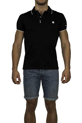Roberto Cavalli FSR687JD064 Herren Men Polo T-Shirt Poloshirt Schwarz Black (M)