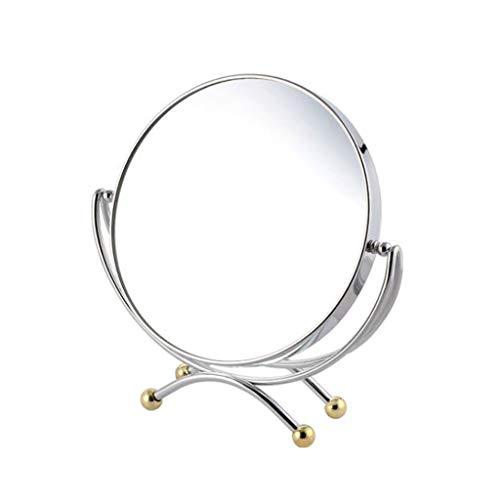 Miroir Maquillage, Miroir de maquillage en métal simple Bureau tournant à double face grossissement miroir de maquillage Miroir de maquillage