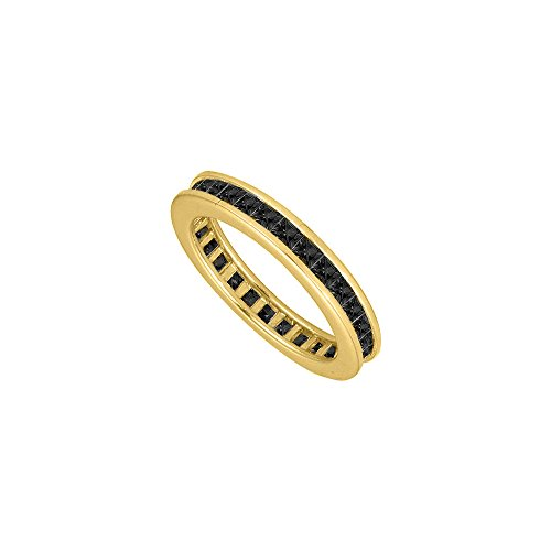 14K Yellow Gold Mens Black Diamond Eternity Ring with Nine Carat Totaling Diamonds