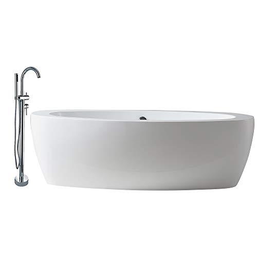 Freistehende Badewanne MODENA ACRYL weiß BS-859 185x91 inkl. Armatur 8028