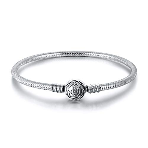 JIAYIQI Charm Bracelets Fit Pandora European Charms 925 Sterling Silver Snake Bangle for Women with Rose Clasp-18cm/7.1 inch