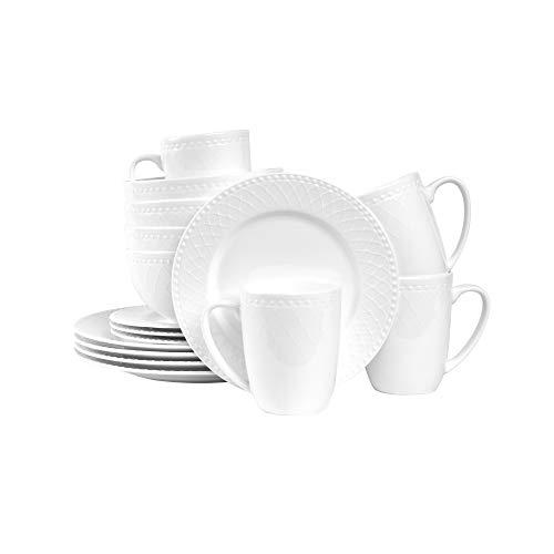 Stone Lain Bone China Basket Weave Embossed Round 32 Piece Dinnerware Set, White