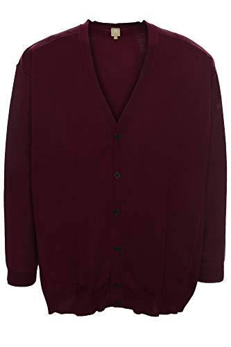 Maerz Strickjacke Cardigan Feinstrick Jacke Wolle Merino Langarm Herren Plusgröße, Farbe:Bordeaux, Herrengrößen:72