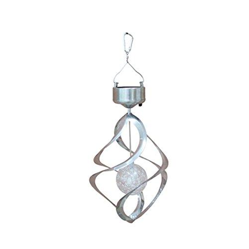 LEDMOMO Solar Wind Chime LED Windspiel Beleuchtung Farbwechsel Hängeleuchte für Outdoor Garten Hof Party Dekor (Silber)
