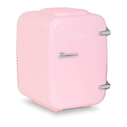 bredeco Mini Refrigerador Nevera De Viaje BCMF-4L-LP (Temperatura: 5-65 °C, 12/24 / 100-240 V, Pantalla LED, Volumen: 4 L, Color rosa)