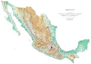 Raven Maps Mexico Topographic Wall Map, Laminated Print