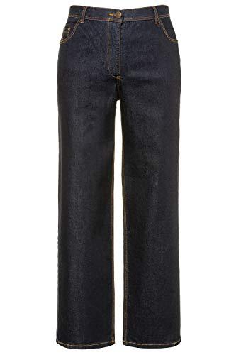 Ulla Popken Damen Mary, weites Bein, 5-Pocket, Komfortbund Flared Jeans, Blau (Dark Denim 93), (Herstellergröße:58)