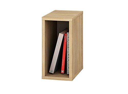 Samblo mizu Slim Cube stapelbar, Holz und Melamin, Eiche und grau, 40x 20x 33cm