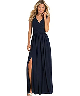 Women's V-Neck A Line Pleated Chiffon Bridesmaid Dress Long Split Formal Prom Party Gown Navy Blue Size8