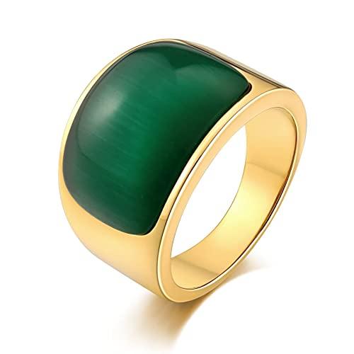 Socoz Anillo de acero para hombre personalizable, semiarco, verde, anillos de oro para boda