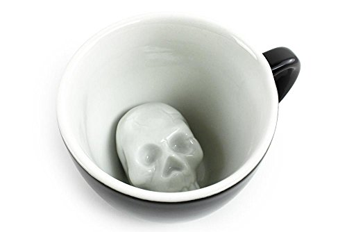 Creature Cups Skull Ceramic Cup 11 Ounce Black Hidden Creepy Animal Inside Halloween Holiday And Birthday Gift For Coffee Tea Lovers