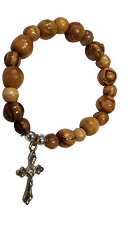 Olive Wood Jerusalem Rosary Bracelets From the Holy Land with Silver Crucifix