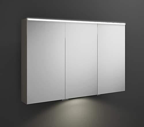 Burgbad Eqio Spiegelschrank mit Horizontaler LED-Beleuchtung und LED-Waschtischbeleuchtung, mittlerer Türanschlag Links SPGT120R, Breite: 1200mm, Korpus: Grau Hochglanz - SPGT120RF2010