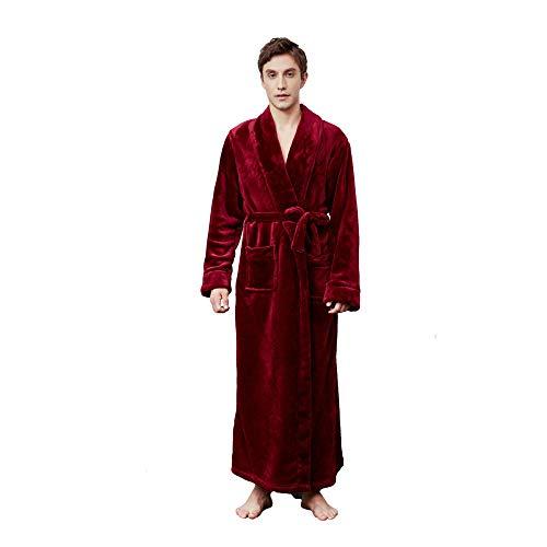 ASADVE Albornoces Largos de Franela de Invierno para Hombres y Mujeres Albornoces cálidos Pijamas de Noche cómodos para Hombres-Hombre Vino Tinto_L