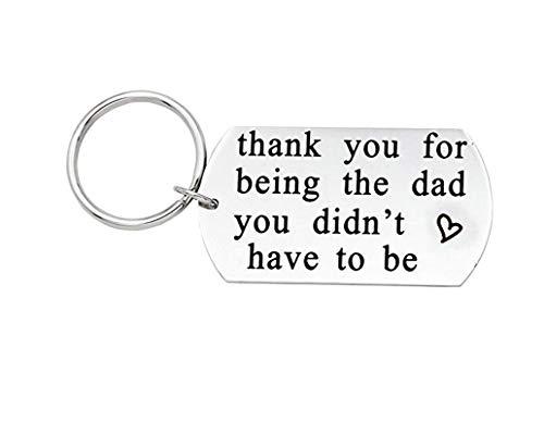 Adisaer Schlüsselanhänger Herren Edelstahl, Silber Thank You for Being The Dad You Didn\'t Have to Be Schlüsselbund Auto Motorrad Anhänger Keychain Gravur mit Schlüsselring