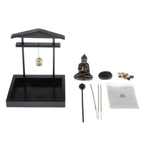 Aiglen Quemador de incienso de escritorio para decoración de jardín, con estatua, soporte de incienso budista, meditación, buda, jardín, casa