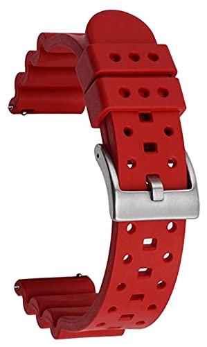 Beapet Banda de Reloj de Silicona 20 mm 22 mm 24 mm de Caucho Relación rápida Correa Mujer Hombres Deportes Reloj Banda Pulsera (Color : 24mm, Size : Red)