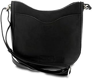 GIUDI ® - Borsa Donna in pelle vacchetta nuvolata, tracolla, vera pelle, Made in Italy. (Nero)