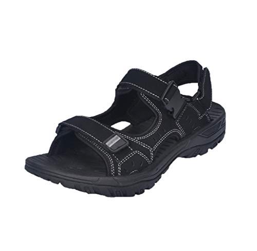 Yiiquan Herren Sommer Sport Multifunktional Sandalen Outdoor Strand Schuhe Wasser Fischer Atmungsaktive (Schwarz, Asia 47)