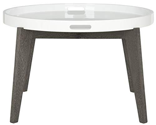 Safavieh EAF4218B Emily Table de Console en Laque Fibre Blanc et Brun Foncé 71 x 71 x 45,72 cm