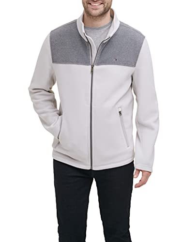 Tommy Hilfiger Men's Classic Zip Front Polar Fleece Jacket, Light Grey/Ice, M