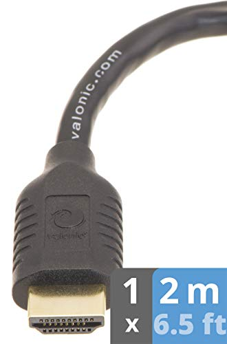 valonic HDMI Kabel 2m | 4k | ARC | UHD | Full HD | Ethernet | schwarz | TV Kabel, Monitorkabel, hdmi Cable für PC oder Switch