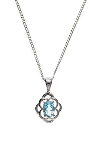 London Jewellery Quarter Real Topacio Azul Colgante Plata Maciza Ovalado Solitario Collar 925 Contraste