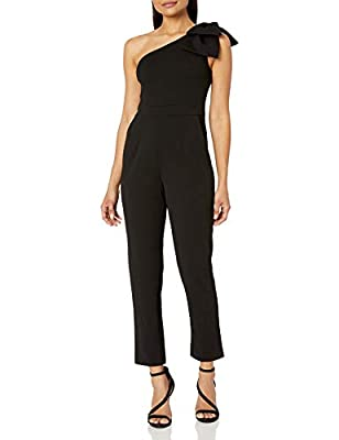 Adrianna Papell Women's Petite One Shoulder Crepe Jumpsuit with Bow Accent, Black, 14P