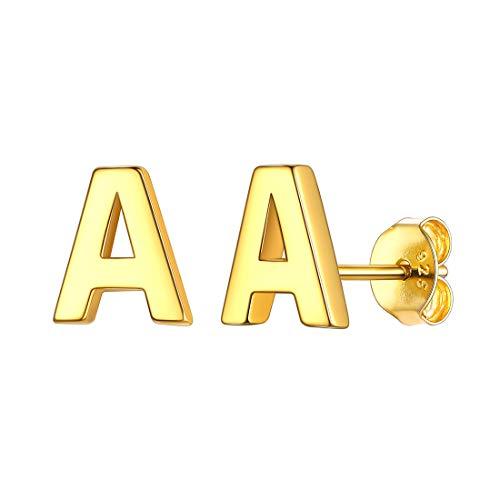 Initial A Stud Earrings for Women 18K Gold Plated Sterling Silver Monogram Jewelry Letter Earring Fits Sensitive Ears