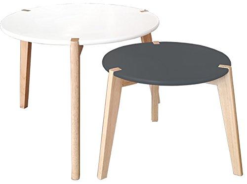 PEGANE Lot de 2 Tables gigognes en MDF Coloris Blanc et Noir Mat - Dim : 60 x 60 x 46/45 x 45 x 39cm
