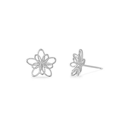 Boma Jewelry Sterling Silver Wire Flower Stud Earrings